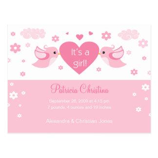 Pink Love Birds Baby Birth Announcement Postcard