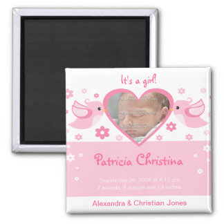 Pink Love Birds Photo Baby Birth Announcement Square Magnet