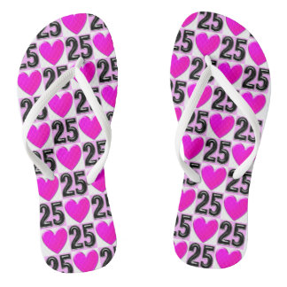 PINK LOVE HEART 25TH BIRTHDAY FLIP FLOPS