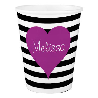 Pink Love Heart Black & White Striped Pattern Name Paper Cup