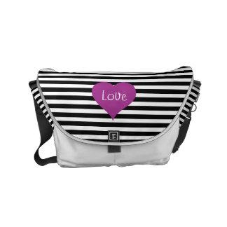 Pink Love Heart On Black & White Striped Pattern Messenger Bag