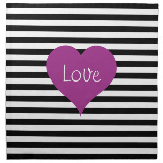 Pink Love Heart On Black & White Striped Pattern Napkin