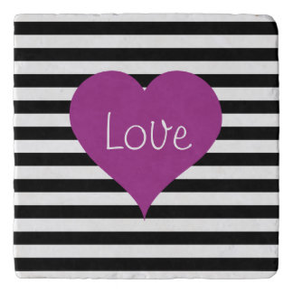Pink Love Heart On Black & White Striped Pattern Trivet