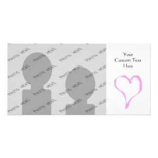 Pink love heart on white. photo cards
