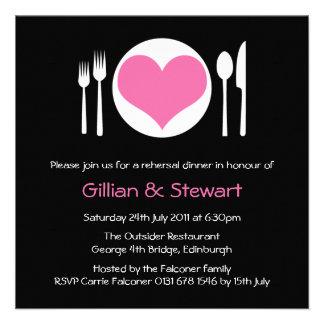 Pink Love Heart Plate Rehersal Dinner Invitation