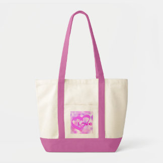Pink Love Heart Tote Canvas Bag