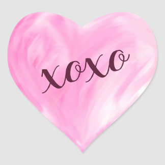 Pink Love Heart Xoxo Watercolor Painted Heart Sticker