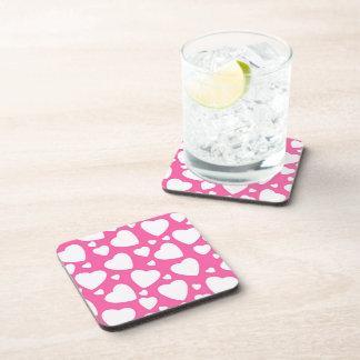Pink Love Hearts Beverage Coaster