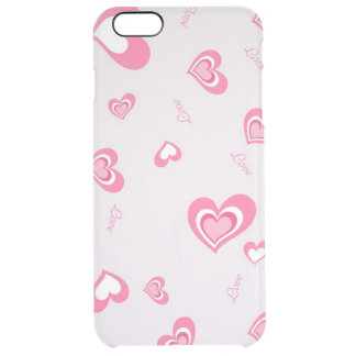 pink love hearts clear iPhone 6 plus case