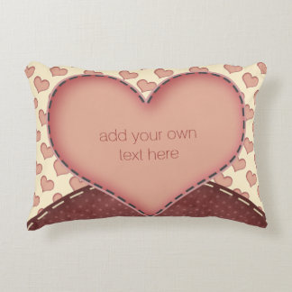 Pink Love Hearts Folk Art Personalized Accent Cushion