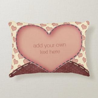 Pink Love Hearts Folk Art Personalized Decorative Cushion