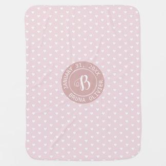 pink love hearts monogram baby baby blanket