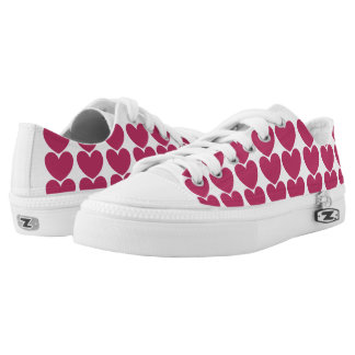 Pink Love Hearts Unisex Laces Shoes Printed Shoes