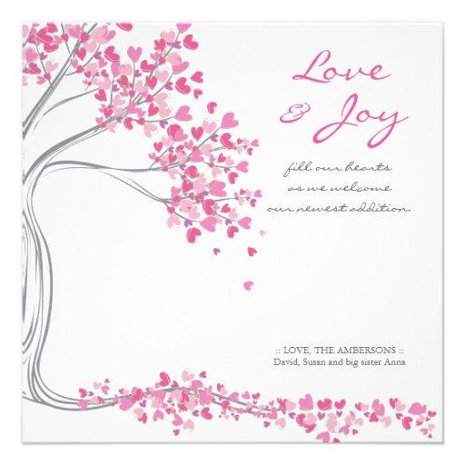 Pink Love & Joy Baby Announcement