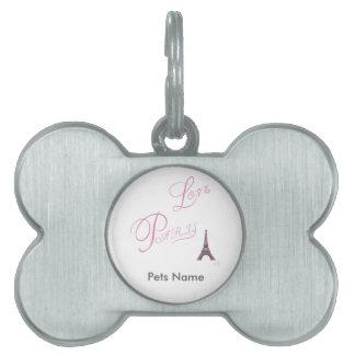 Pink-Love-Paris-Eiffel-Tower-Unique Pet Name Tag