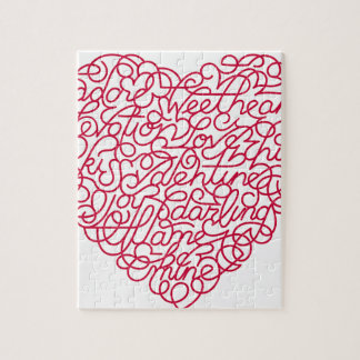 Pink Love Text Heart Jigsaw Puzzle