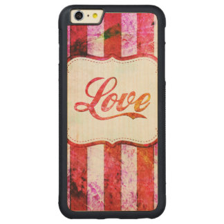 Pink Love with Stripes Carved® Maple iPhone 6 Plus Bumper Case
