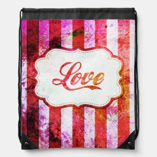 Pink Love with Stripes Drawstring Bag