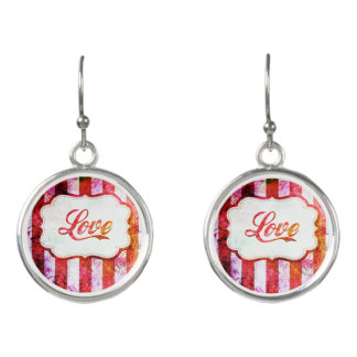 Pink Love with Stripes Earrings