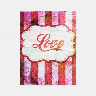 Pink Love with Stripes Fleece Blanket