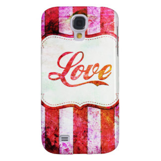 Pink Love with Stripes Samsung Galaxy S4 Case