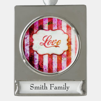 Pink Love with Stripes Silver Plated Banner Ornament