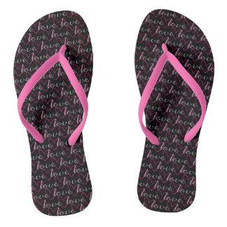 Pink Love Word Pattern Black Trendy Stylish Girly Thongs