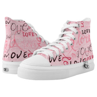 Pink Love Words Printed Shoes