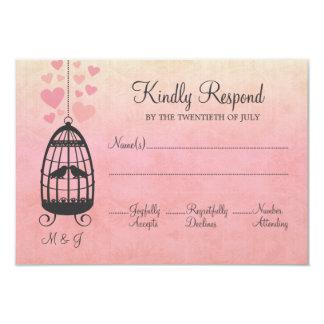 Pink Lovebirds Birdcage Wedding RSVP Card