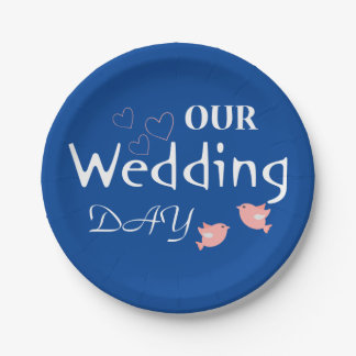Pink Lovebirds Blue & White Wedding Just Married Paper Plate