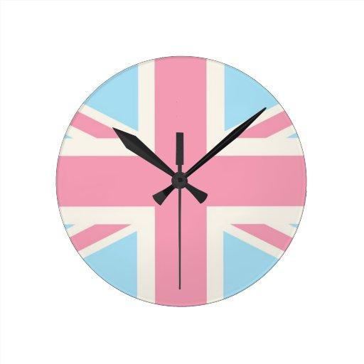 Pink Lovely Classic Union Jack British(UK) Flag Round Wall Clocks