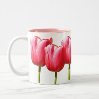 Pink Lovely Tulip Blooms Two-Tone Coffee Mug