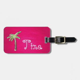 Pink luggage tag with a palm tree