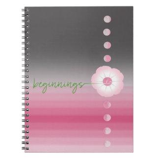 pink luna moonflower spiral journal __ beginnings