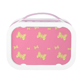 Pink Lunch Box with Yellow Butterflies