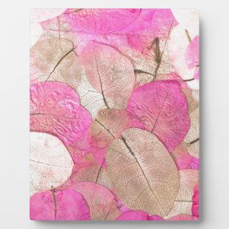 pink macro leaves plaque