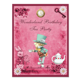 Pink Mad Hatter Wonderland Birthday Tea Party Card