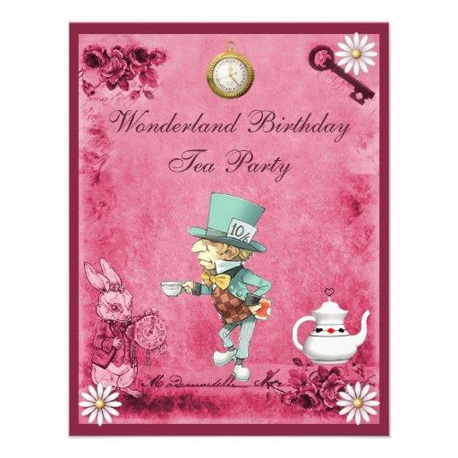Pink Mad Hatter Wonderland Birthday Tea Party Custom Invitations