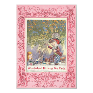 Pink Mad Hatter's Wonderland Birthday Tea Party Card