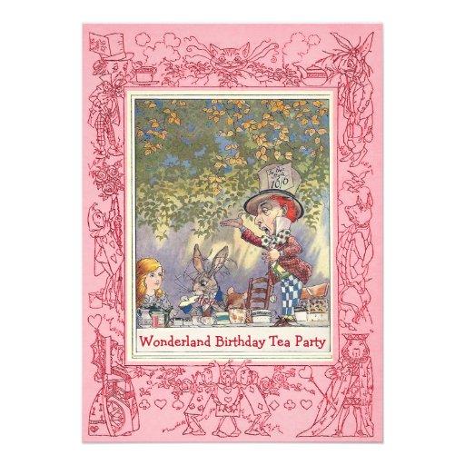 Pink Mad Hatter's Wonderland Birthday Tea Party Card