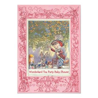Pink Mad Hatter's Wonderland Tea Party Baby Shower Card