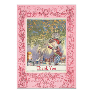 Pink Mad Hatter's Wonderland Tea Party Thank You Card