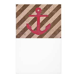 Pink Magenta Anchor Stripes Stationery