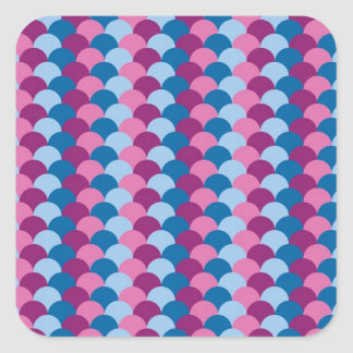 Pink Magenta and Blue Scale Pattern Square Sticker