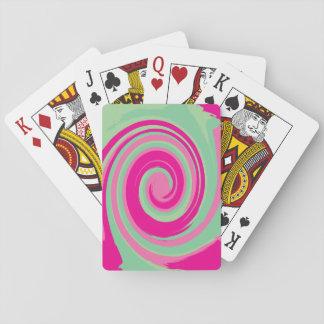 Pink, Magenta, Green & Mint Green Twirl Poker Deck