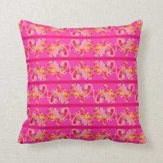 Pink Magenta Hearts Striped Pattern Cushion
