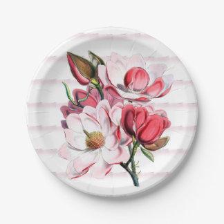 "Pink Magnolia Blooms Paper Plates 7"""