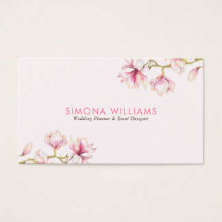 Pink Magnolia Modern Watercolors Illustration Business Card