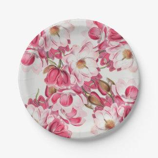 Pink Magnolia Paper Plates