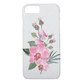pink magnolia watercolor bouquet on damask iPhone 8/7 case